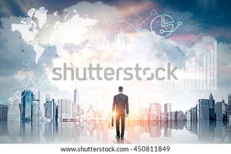 Businessman with briefcase looking at global business charts and graphs on New York city background with sunlight #450811849