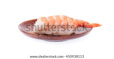 sushi shrimp and rice in a dish isolated on a white background #450938113