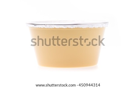 Plastic circle container for dairy foods Isolated on a white background #450944314