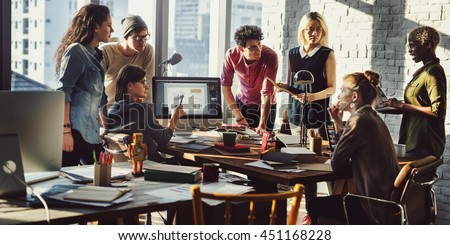 Business Office Connection Contemporary Working Concept Royalty-Free Stock Photo #451168228