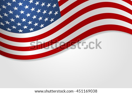American flag vector illustration stylish design with shadow #451169038