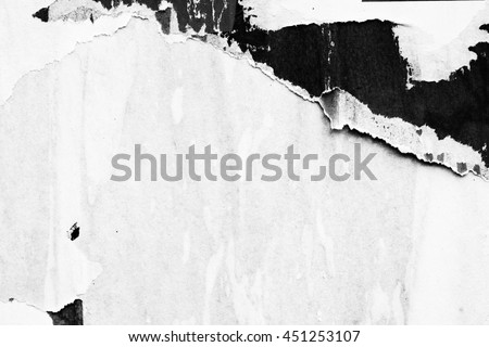 Old grunge ripped torn vintage collage posters creased crumpled paper surface texture background placard / Space for text Royalty-Free Stock Photo #451253107