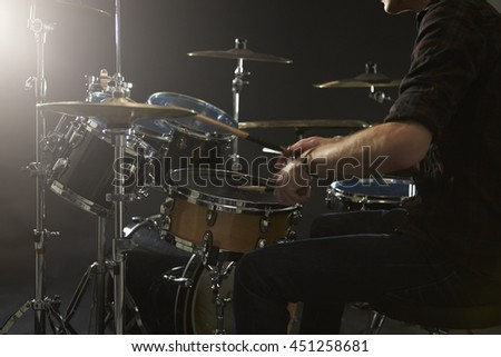 Close Up Of Drummer Playing Drum Kit In Studio #451258681