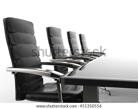 3d rendering empty conference table and office chairs #451350556