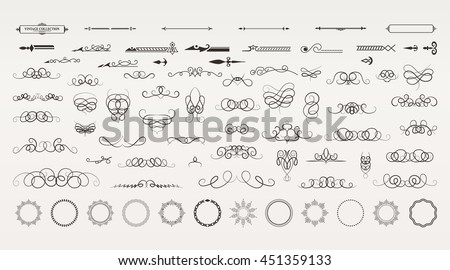 Vintage borders, frame and rosette in set. Wicker lines and old decor elements in vector.  Vector page decoration. Decoration for logos, wedding album or restaurant menu. Calligraphic design elements Royalty-Free Stock Photo #451359133
