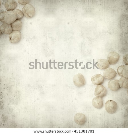 textured old paper background with shelled hazelnut #451381981