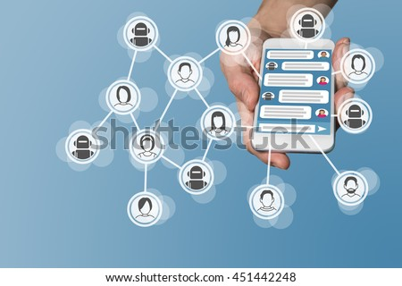 Chatbot concept with instant messenger displayed on smart phone Royalty-Free Stock Photo #451442248