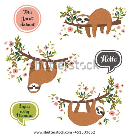 Vector set of cute sloths hanging and lying on the tree. Hand drawn slow funny sloth, flowers, branch. Adorable cartoon animals collection