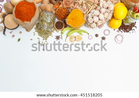 Group of indian spices and herbs difference ware on white background with top view and copy space for design foods, vegetable, healthy lifestyle, mock-up or other your content. #451518205
