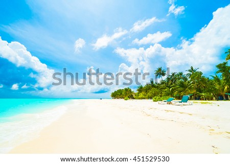 Beautiful tropical beach and sea in maldives island with coconut palm tree and blue sky background #451529530