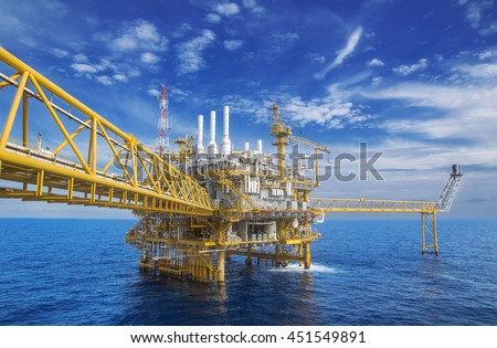 Offshore Industry oil and gas production petroleum pipeline,Offshore gas production flatform. #451549891