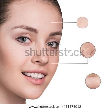 Beautiful young woman face with zoom wrinkles #451573012