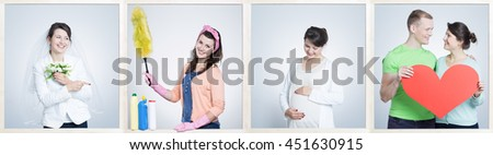 Four shots of woman getting married, cleaning, expecting the baby and with the man taking the red heart #451630915