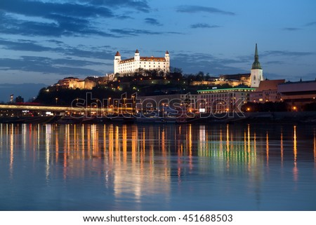 Beautiful view of Bratislava castle at night in Slovakia Royalty-Free Stock Photo #451688503
