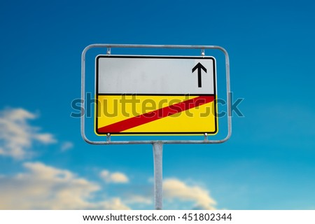 German sign with Text space