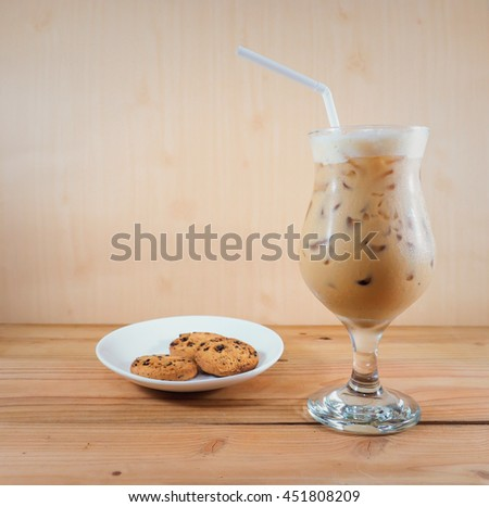 cold coffee on wood background #451808209