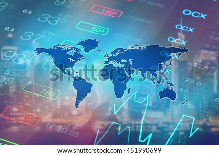 Economy background with abstract stock market graph, tickers, financial data and blue world map. Wallpaper for global economy and financial news. Royalty-Free Stock Photo #451990699