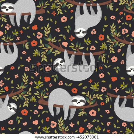 Vector funny sloth on tree. Seamless pattern with cute baby sloth, flowers, branch. Adorable animal background