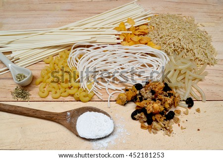 Food sources of complex carbohydrates on wooden background #452181253