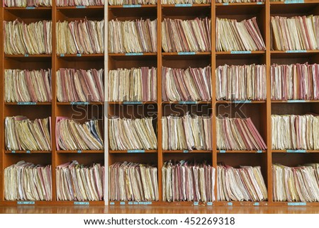 File shelfs at clinicstore in a archives #452269318
