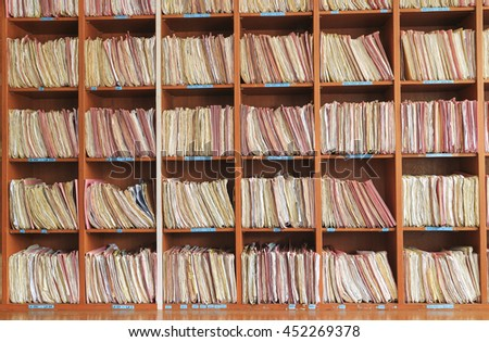 File shelfs at clinicstore in a archives #452269378