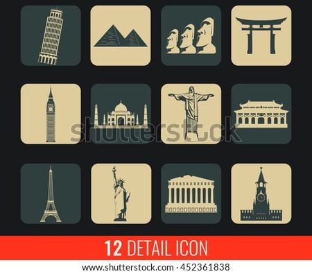 World landmarks flat icons set. Vector illustration #452361838