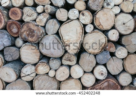 Pile of wood logs / Timber texture #452402248