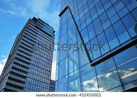Skyscraper with glass facade. Modern building. #452450002