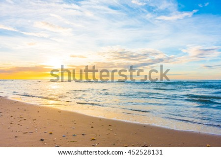 Beautiful nature with sunset on the beach and sea or ocean - Boost up color and Filter Processing #452528131