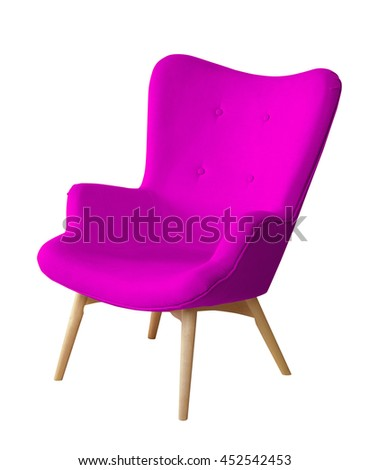 Purple color chair isolated. Designer stool on white background, textile chair cut out. Series of colorful furniture #452542453
