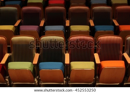 multicolored chairs with kinetic art #452553250