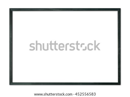 Simple black thin wooden picture frame border for modern wall isolated on white background
