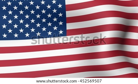 Flag of United States of America, fluttering in the wind. 3D rendering. #452569507