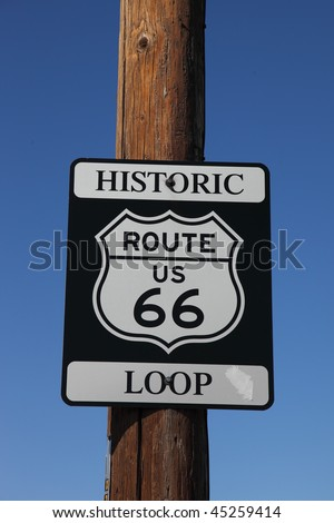 Traffic sign on the American highway, on a wooden column. Historic route 66 #45259414