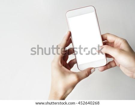 Mockup Copyspace Hands Mobile Phone Concept #452640268