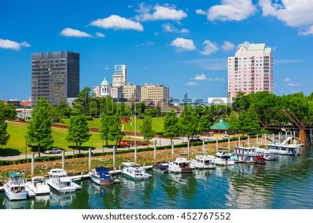 Augusta, Georgia, USA downtown skyline on the Savannah River. #452767552
