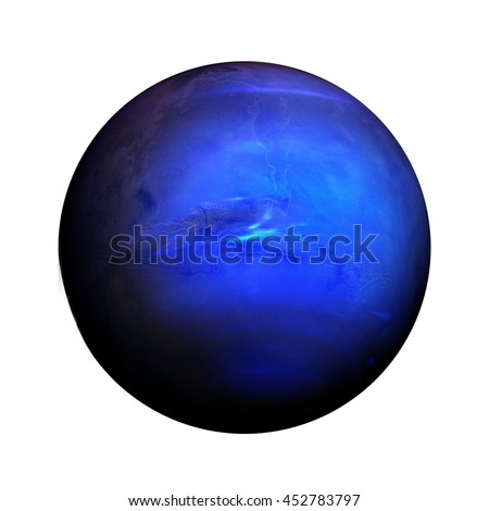 Solar System - Neptune. Isolated planet on white background. Elements of this image furnished by NASA