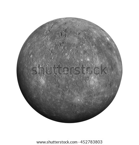 Solar System - Mercury. Isolated planet on white background. Elements of this image furnished by NASA
