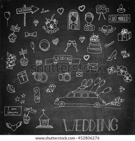 Wedding set icon. Hand drawn stock illustration. Chalk board drawing.