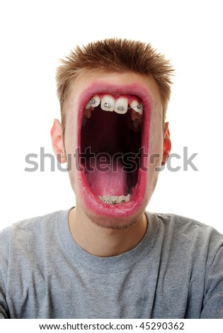 A young adult white Caucasian male screaming his message furiously isolated on white background.