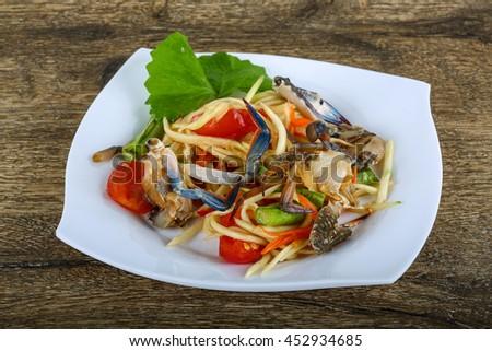 Thai spice crab salad with papaya #452934685