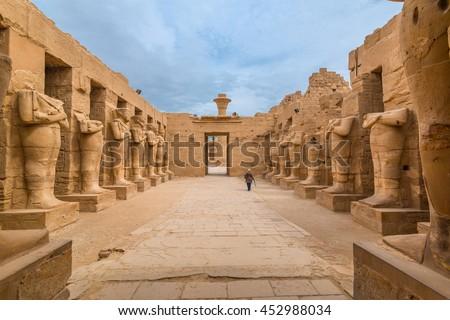 Pharaohs statues in The temple of Karnak in Luxor Egypt #452988034