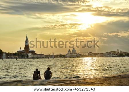 Venice. Sunset on the lagoon. #453271543