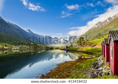 glacier in the mountains of Norway, Brikdalsbreen #453418432