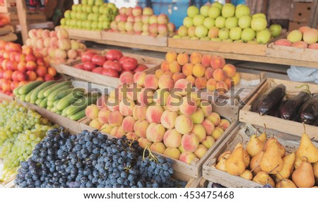 Fruits and vegetables at a farmers market #453475468
