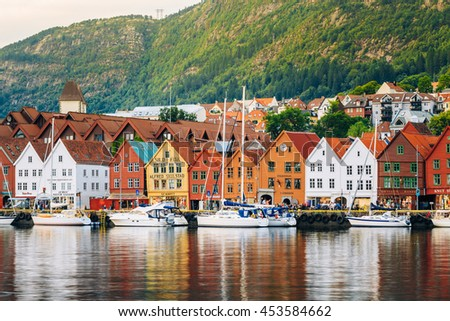 Bergen, Norway - August 3, 2014: View of historical architecture Bryggen in Bergen, Norway. UNESCO World Heritage Site #453584662