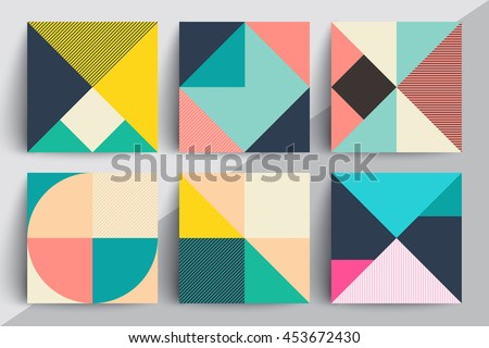 Set of geometric design cards. Applicable for Covers, Voucher, Posters, Flyers and Banner Designs. Royalty-Free Stock Photo #453672430
