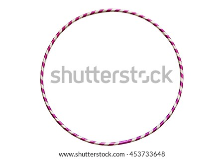 The hula Hoop silver with purple isolated on white background. Gymnastics, fitness,diet. Royalty-Free Stock Photo #453733648