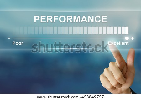 business hand pushing excellent performance on virtual screen interface #453849757