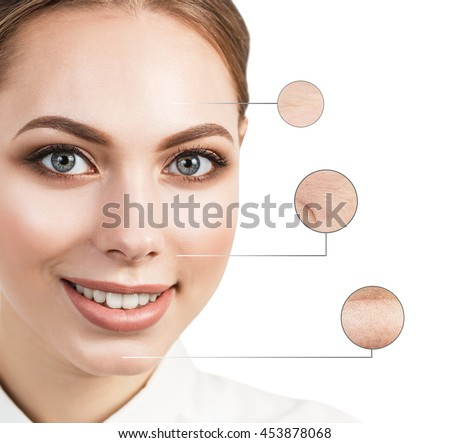 Beautiful young woman face with zoom wrinkles #453878068